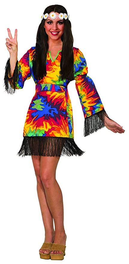 Hippie Costumes, Hippie Outfits Forum Novelties Womens Hippie Tie Dye Costume Fancy Dress Fringes Adult One Size 14/16 $32.91 AT vintagedancer.com