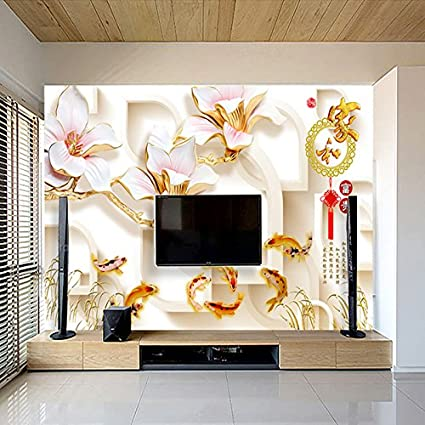 Xli You 3d Chinese Home And Wealth Tv Background Wall Painting