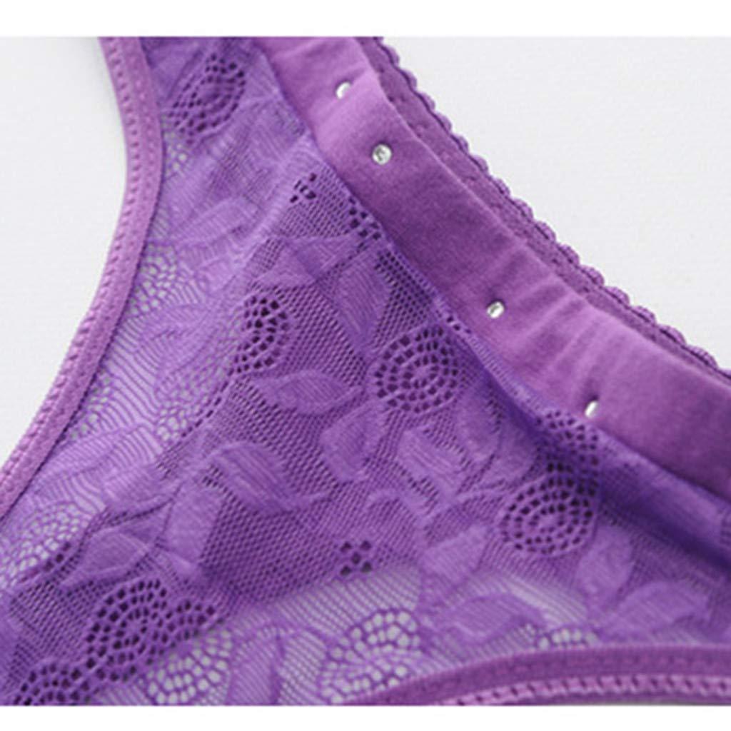 YQZB Women Thong Underwear Lace Transparent Panty Flowers Elastic Waistband Briefs