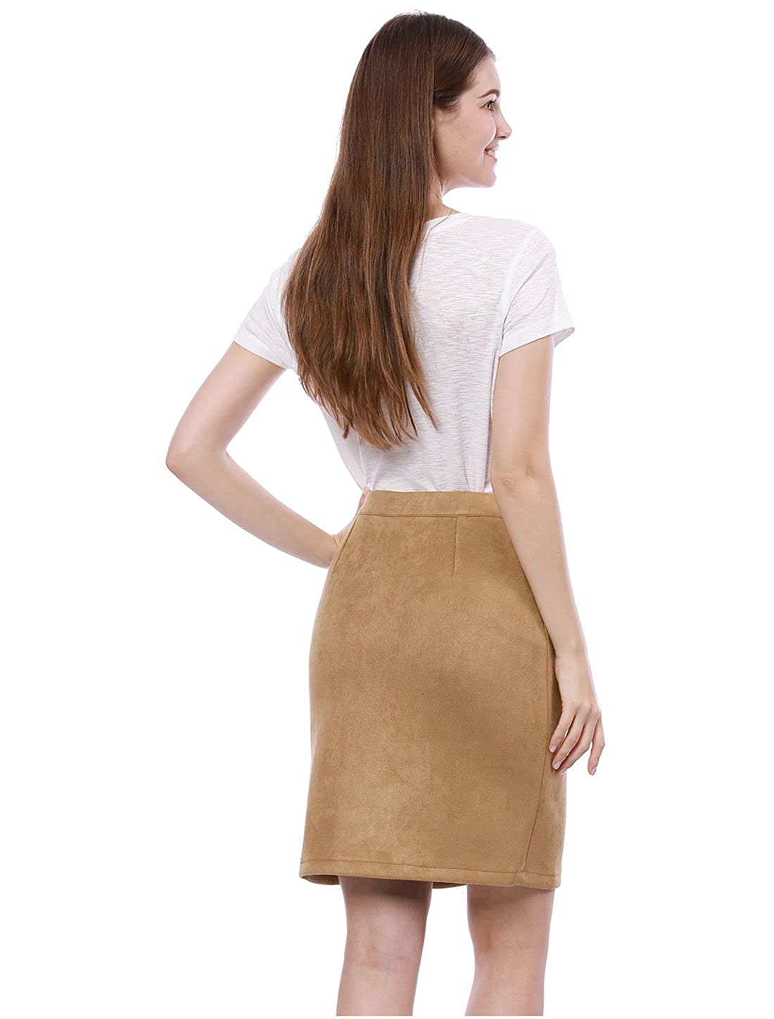 58cb0309a4de Allegra K Women's Button Closure Front Business Straight Imitated Suede  Skirt XS Brown at Amazon Women's Clothing store: