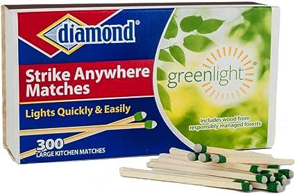 Paquete de 10 cajas Strike Anywhere cerillas camping cocina parrilla chimenea (Diamond GreenLight)