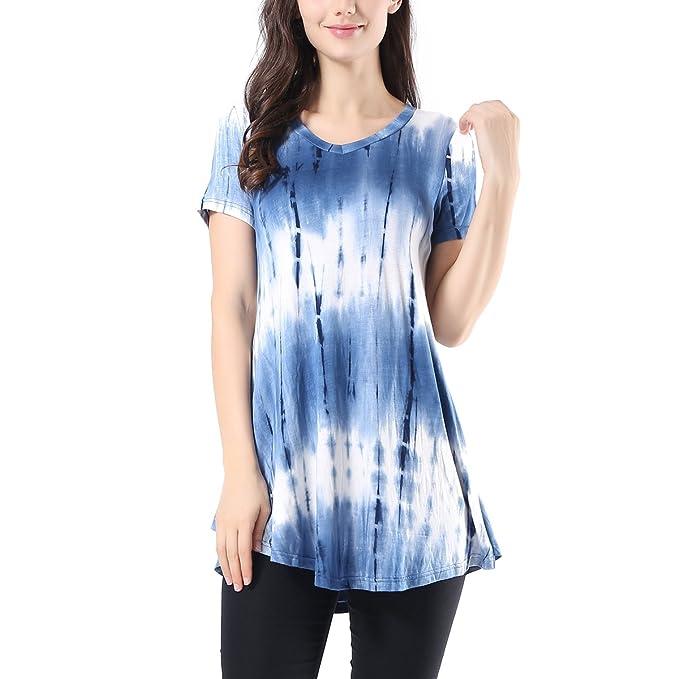 99c98235779 AVTOSRNO Women's Short Sleeve V Neck Flowy Tunic Top Casual Print Ruffle  Blouse T-Shirt