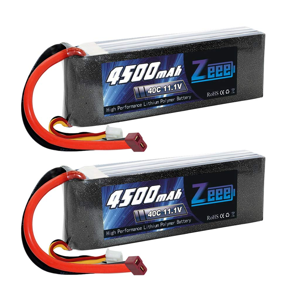 Zeee 4500mAh 3S 11.1V 40C Lipo Battery Pack with Deans T Connector for DJI Airplane RC Quadcopter Drone and FPV (2Pcs)