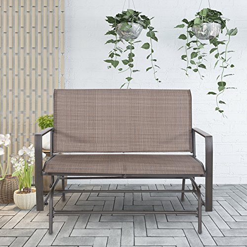 Cloud Mountain Patio Glider Bench Outdoor 2 Person Swing Loveseat Rocking Seating Patio Swing Rocker Lounge Glider Chair, Tan by Cloud Mountain (Image #2)