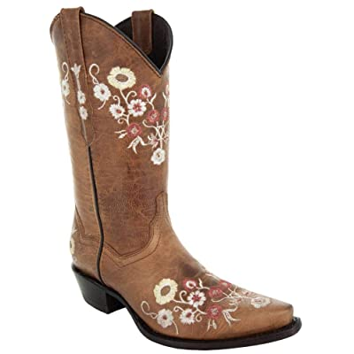 Soto Boots Womens Showstopper Snipped Toe Floral Cowgirl Boots M50044   Mid-Calf