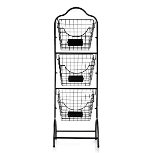 Sunny Living 3-Tier Market Basket Stand, Kitchen Fruit Storage Basket for Kitchen, Bathroom Towel Basket Display Rack, Black
