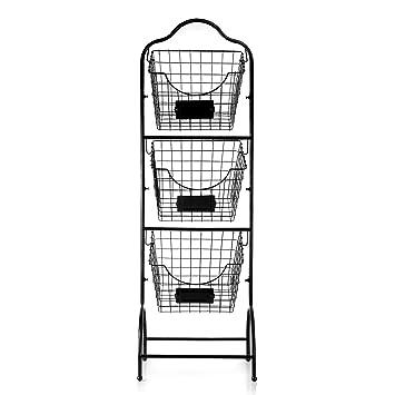 Sunny Living 3 Tier Market Basket Stand Kitchen Fruit Storage Basket For Kitchen Bathroom Towel Basket Display Rack Black