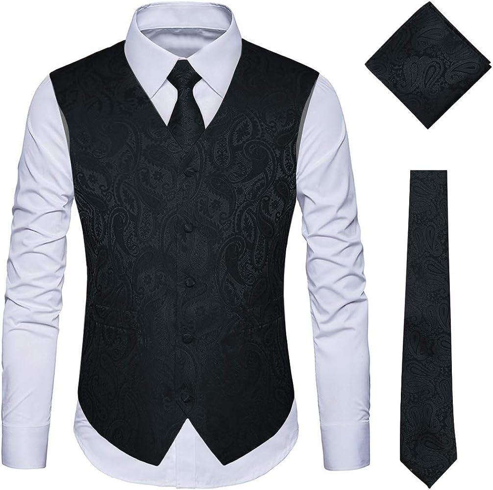921eb1cc7717b YIMANIE Men's Waistcoat Paisley Floral Jacquard Necktie Pocket Square  Handkerchief Vest Suit Set Black
