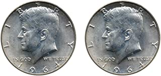 1964 Set of 2-90% Silver John F Kennedy JFK Half Dollar Circulated Very Fine