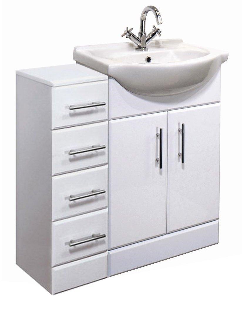900mm High Gloss White Bathroom Furniture Set  Vanity Cabinet Basin Unit &  4 Drawer Cupboard: Amazon: Kitchen & Home