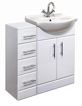 900mm high gloss white bathroom furniture set vanity cabinet basin unit u0026 4 drawer cupboard