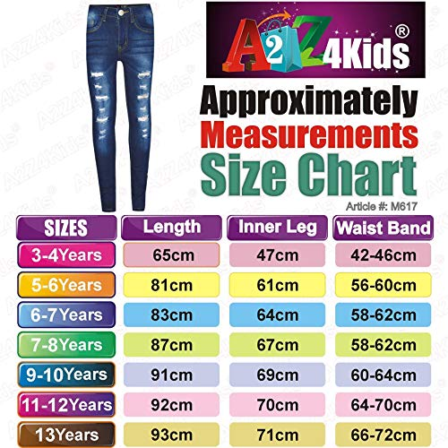 Kids Girls Skinny Jeans Denim Ripped Stretchy Pants Jeggings New Age 3-13 Years 4