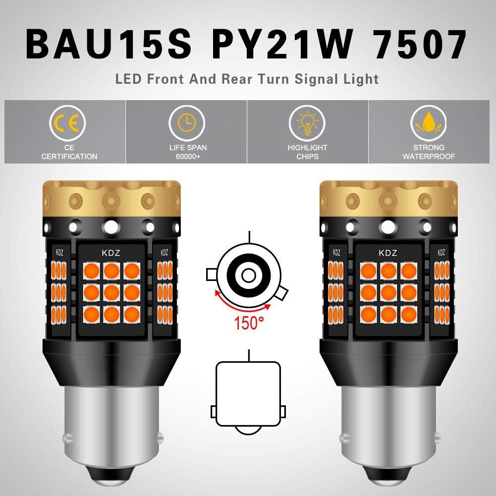 150 /° Pack de 2 NATGIC BAU15S PY21W Ampoules Clignotants LED Ambre Jaune Orange 3700LM 3030 45 SMD Canbus Sans Erreur Anti-Hyper Flash pour Clignotants LED Avant ou Arri/ère de Voiture
