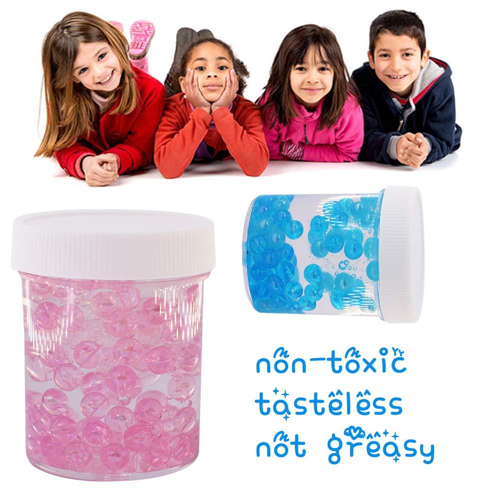Flache Perlen Slime Stressabbau Spielzeug f/ür Kinder Erwachsene SWZY EIS Kristall Schleim Kitt mit Fishbowl-Perlen 2-Pack