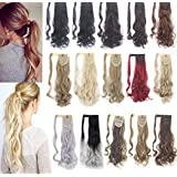 SAYFUT Curly Wavy Straight Wrap Around Ponytail Hair Extensions 18-24inch Magic Paste Ponytail Synthetic Hair Extensions Fashion and Beauty