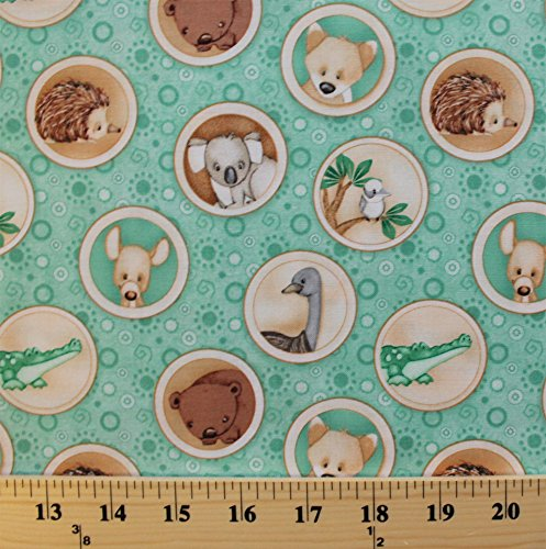 Cotton Outback Australian Animals Kangaroo Koala Platypus Dingo Kookaburra Crocodile Ostrich in Circle Frames Mint Kids Cotton Fabric Print by the Yard (6193-11)