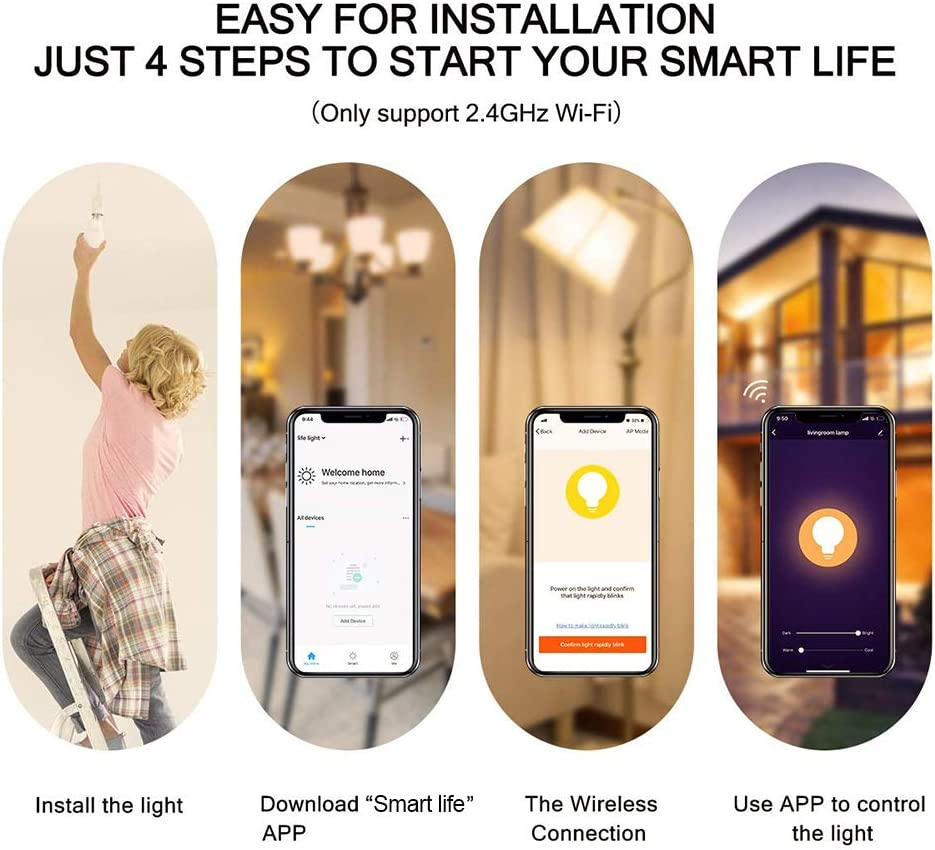 E14 Smart WLAN Gl/ühbirne,WIFI-Kerzenlampe Edison Birne 6W /äquivalent 60W 3pcs WiFi Intelligente Lampe Birne Farbwechsel mit Alexa Google-Startseite Tmall Genie Sprachsteuerung