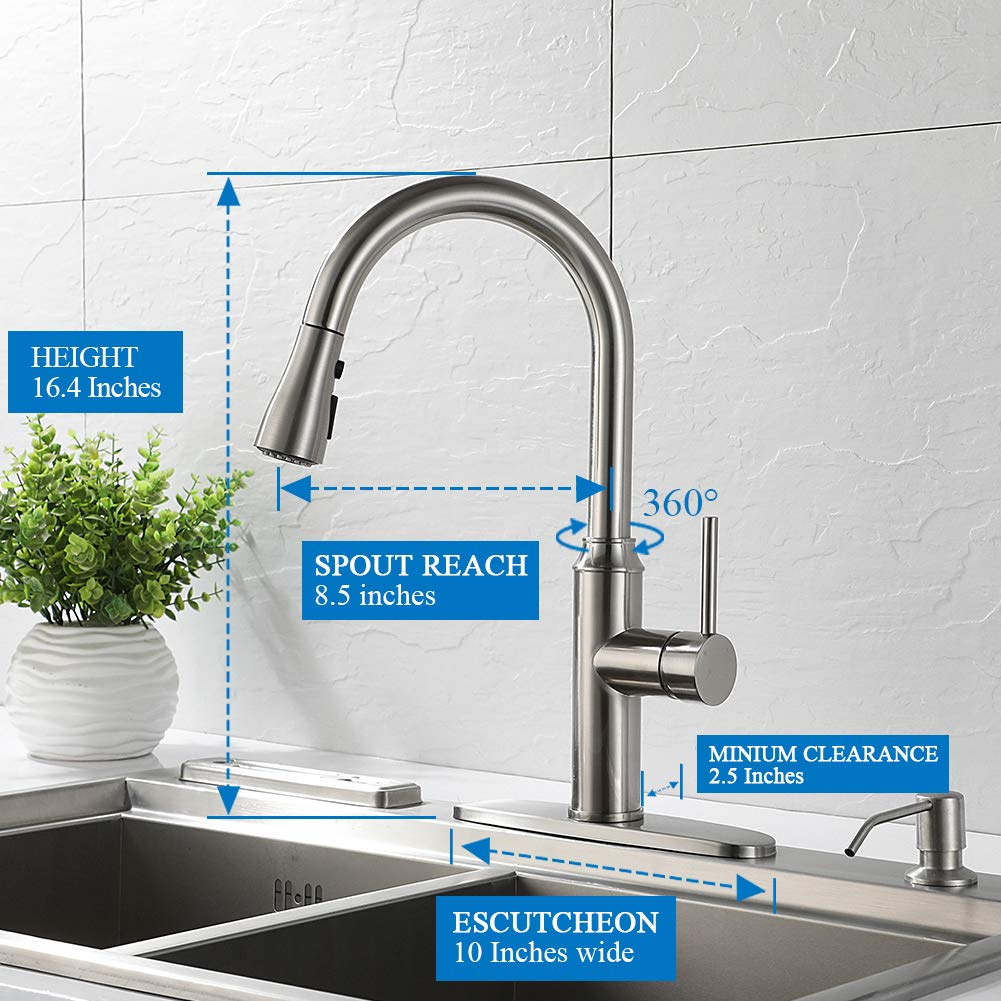 Kitchen Faucet Pull Down-Arofa A01LY Commercial Modern Single Hole Single Handle high arc Stainless Steel Brushed Nickel Kitchen Sink faucets with Pull Out Sprayer by Arofa (Image #2)
