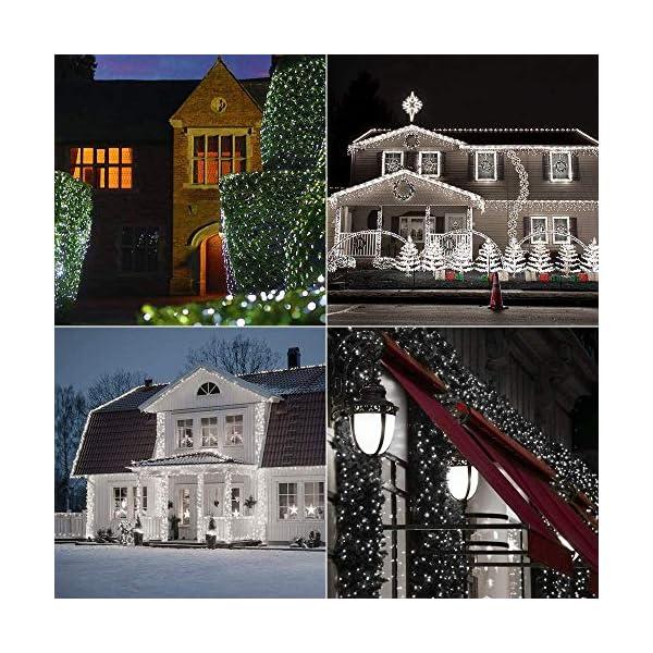 [2 Pezzi] Catena Luminosa Solare Bianco Freddo, BrizLabs 120 LED Luci Solari Esterno Impermeabile 12M 8 modalità Filo di Rame Luci Decorative per Giardino, Patio,Natale, Festa, Matrimonio 6 spesavip