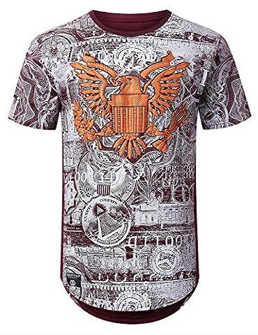 URBANCREWS Mens Hipster Hip Hop Money Print Longline T-shirt BURGUNDY LARGE - Long Graphic