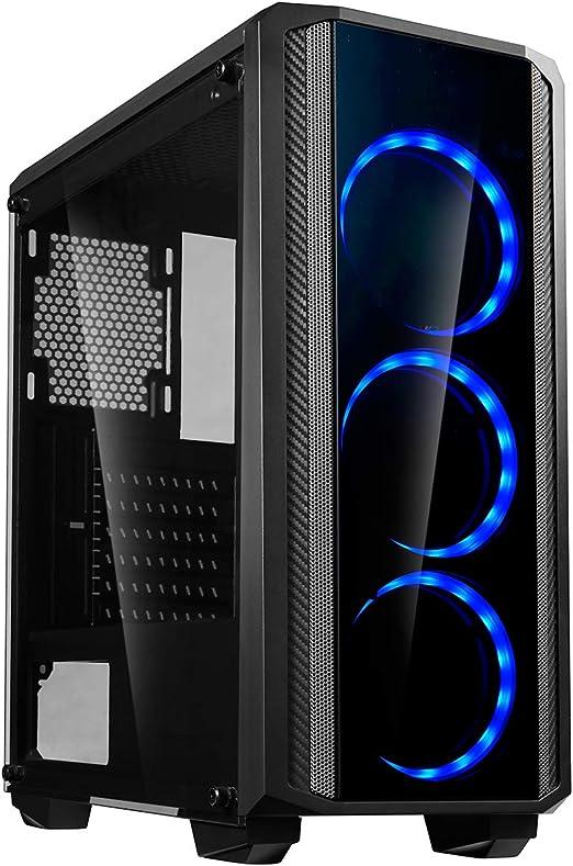 CiT Quantum Midi - Caja de Vidrio Templado para Juegos (3 Ventiladores LED de Doble Lado), Color Azul: Amazon.es: Informática