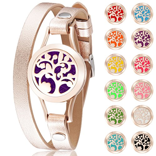 Tree of Life Aromatherapy Essential Oil Diffuser Hypoallergenic 316L Surgical Stainless Steel with Genuine Leather Bracelet and 9 Different Color Pads (Rose Gold)