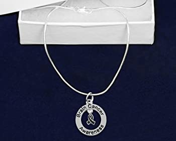 Brain Cancer Awareness Grey Ribbon Charm Necklace (1 Necklace - Retail)