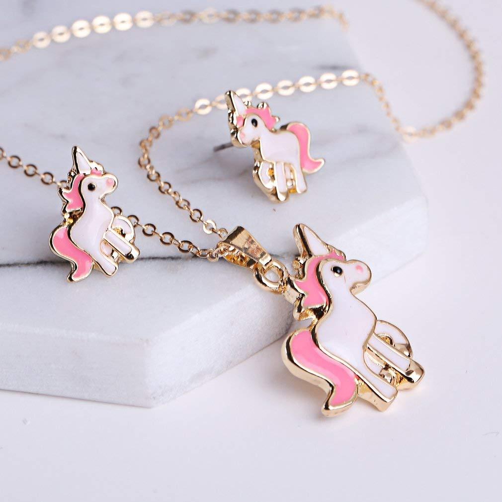 estilo unicornio Juego de collar y pendientes con dise/ño de animales para mujeres y ni/ñas