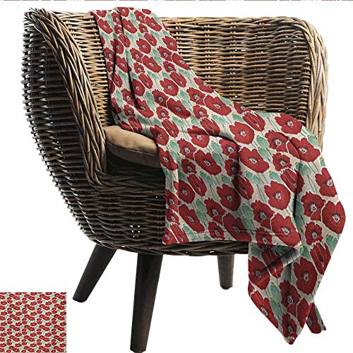 EwaskyOnline Poppy Nap Blanket Spring Garden Pattern with Red Blossoms Seed Capsules and Little Dots Bedding Throw, or Blanket Sheet 84