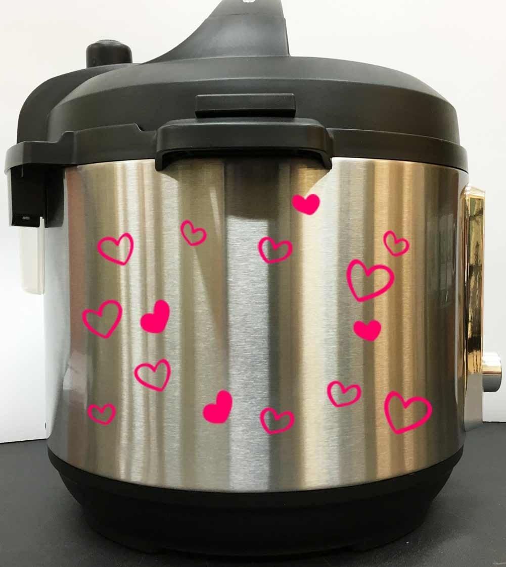 Cute Hearts Art Decal Sticker - Pink Vinyl Decal Sticker for Instant Pot Instapot Pressure Cooker