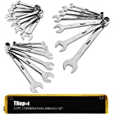 Trepot 22Pcs Premium Combination Wrench Set, Max Torque Open End and Box End Tool Set, Complete SAE &Metric Inch Sizes from 5
