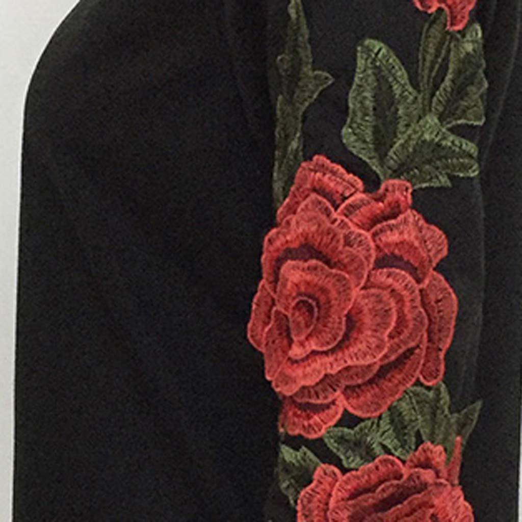 Felpa Donna Sweatshirt Elegante,Abito Donna Eleganti da Cerimonia,YanHoo Abito Felpa con Ricamo Floreale a Manica Lunga Casual Autunno Inverno Donna Nero S,M,L,XL