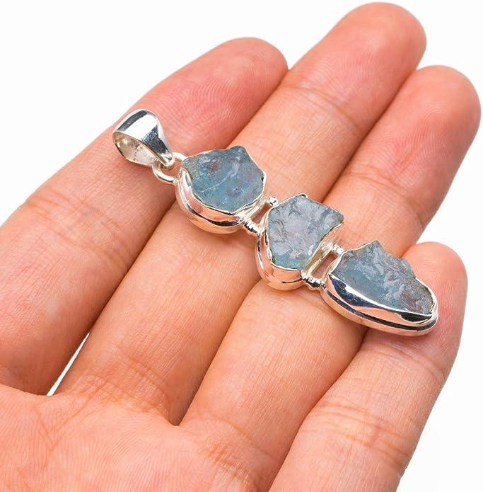 Natural Rough Aquamarine Handmade 925 Sterling Silver Pendant 2 D2395