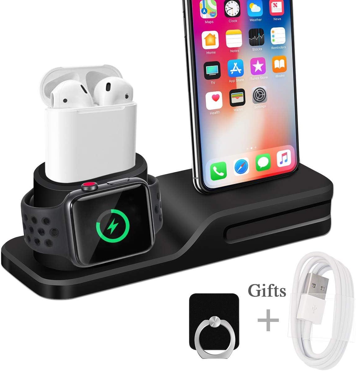 Wonsidary Soporte de Carga para Apple, 3 en 1 Estación de Carga Silicona Base de Carga Soporte Cargador para Apple Watch Series 5/4/3/2/1, Airpods, iPhone 11/11Pro/Xs/Xs MAX/Xr/X/8/7 Plus/6