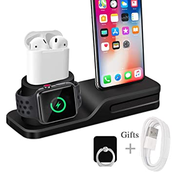 Wonsidary Soporte de Carga para Apple, 3 en 1 Estación de Carga Silicona Base de Carga Soporte Cargador para Apple Watch Series 4/3/2/1, Airpods, ...