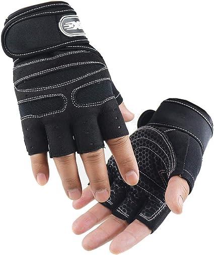 Bike Cycling Motorcycle Skull Skeleton Half Finger Fingerless Sport Gloves Large