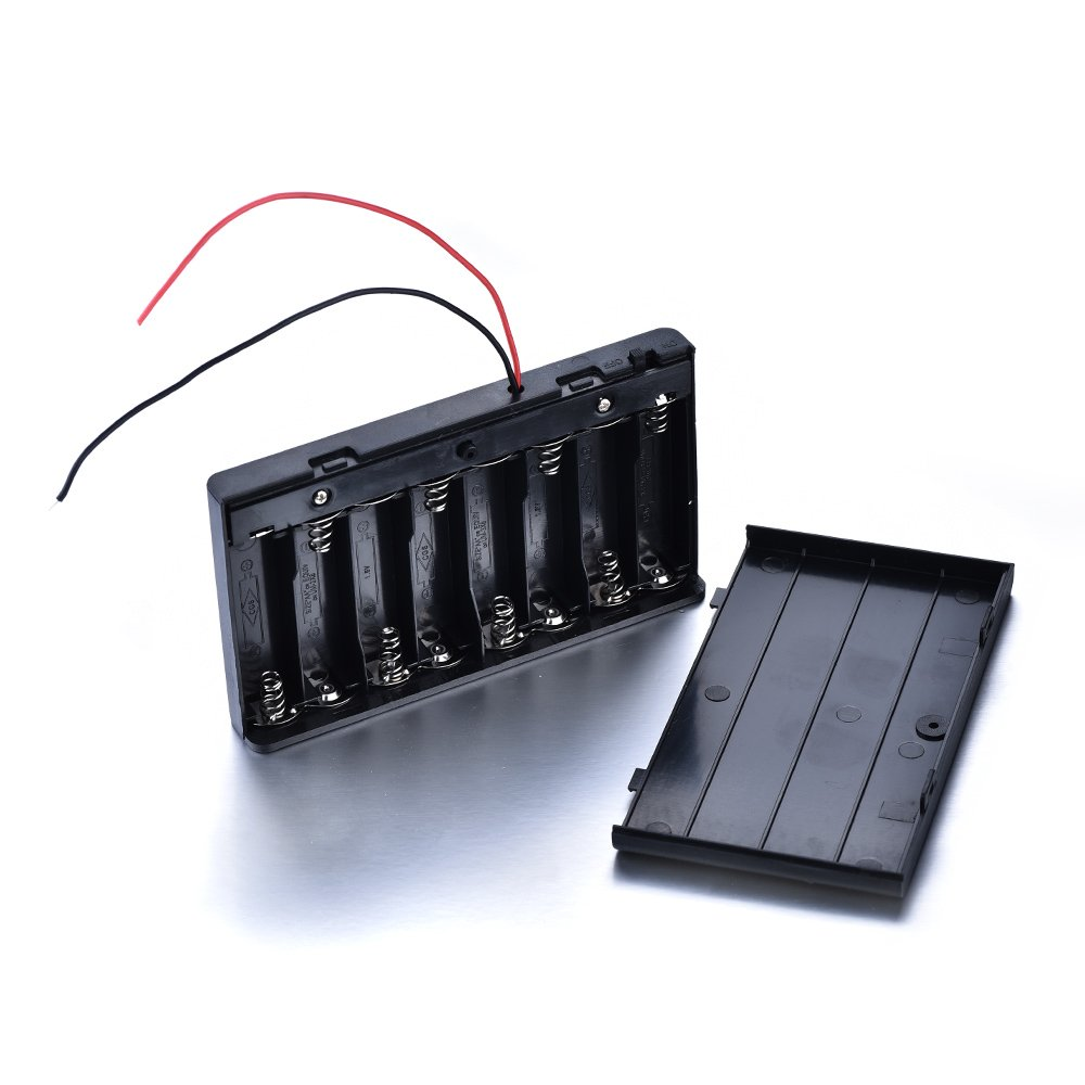 Atoplee 6pcs 8 X 12V AA Wire Leads Plastic Battery Storage Case with rear cover and switch