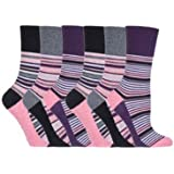 6 pairs Non Elastic Gentle Grip Socks Soft Cotton Honeycomb Top Size 4-8, WOMENS