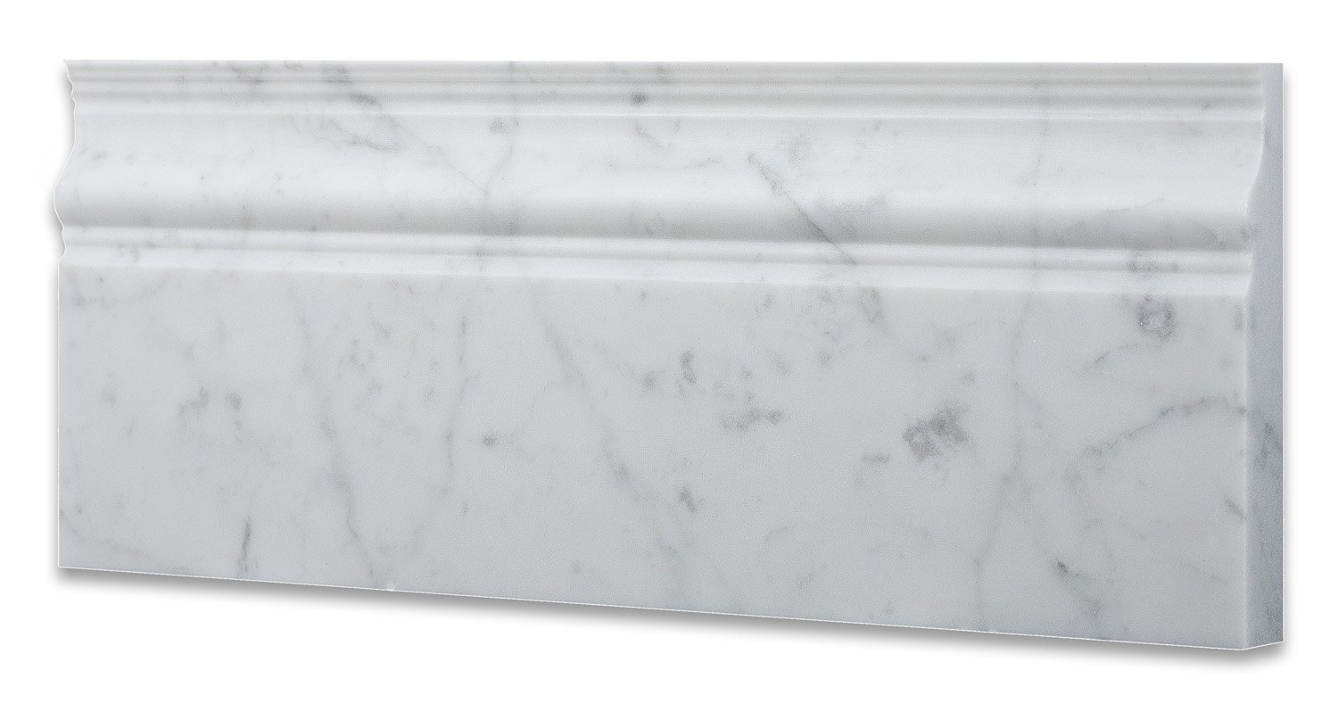 Italian Carrara White Marble Honed 5 X 12 Baseboard - Box of 5 Pcs. by Oracle Moldings (Image #3)