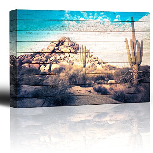 Wall26 - Painted desert scene on wood grain background - Rustic sagebrush cactus boulders - Blue sky over rural landscape - Canvas Art Home Decor - 16x24 inches - Sky Home Decor