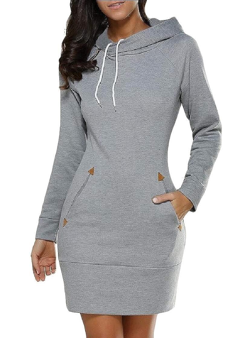 Joe Wenko Womens Hoodie Slim Turtle Neck Dress Long-Sleeve Sweatshirts