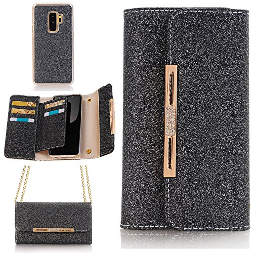 "Cheap TechCode Galaxy S8 Plus Wallet Case, Women Elegant Stylish Candy Colour Bag W/Card Slots Glitter Cute Flip Lady Multi Envelope Wristlet Handbag Clutch Wallet Case for Samsung Galaxy S8+ 6.2"" (Black)"