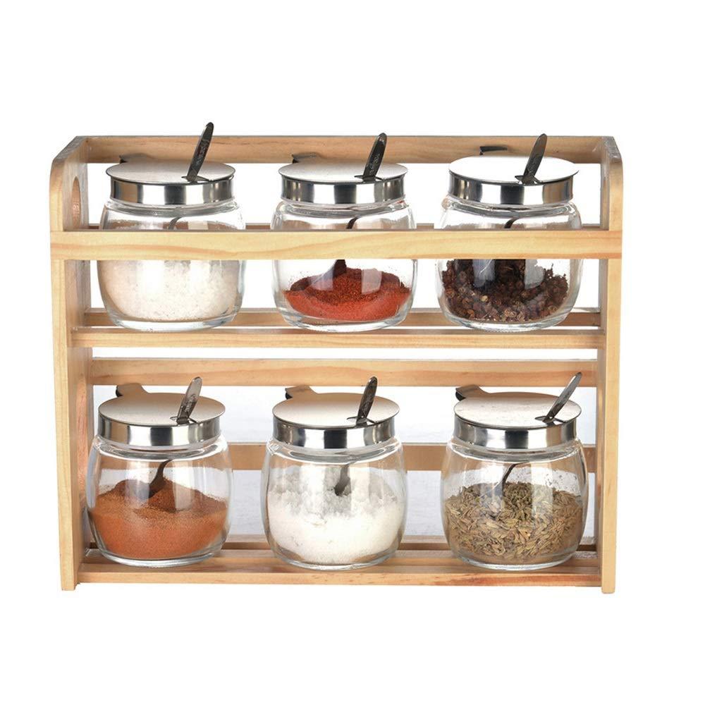MINGRUIGONGMAO Seasoning Seasoning Box - 6 seasoning jars with stainless steel lids, bamboo trays, suitable for home kitchen gifts. Plush toys by MINGRUIGONGMAO