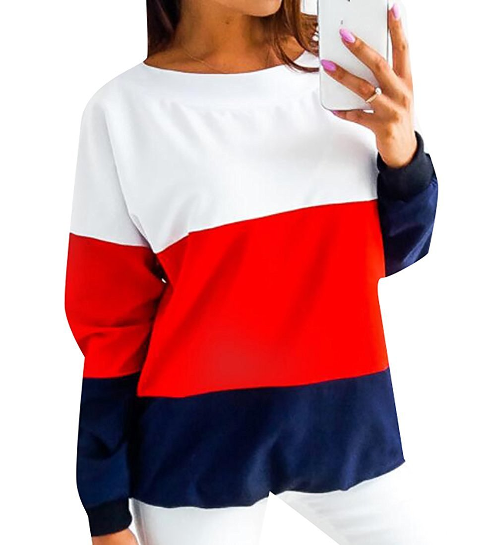 Womens Sweatshirt Tops Crewneck Lace up Color Block Shirt Blouse