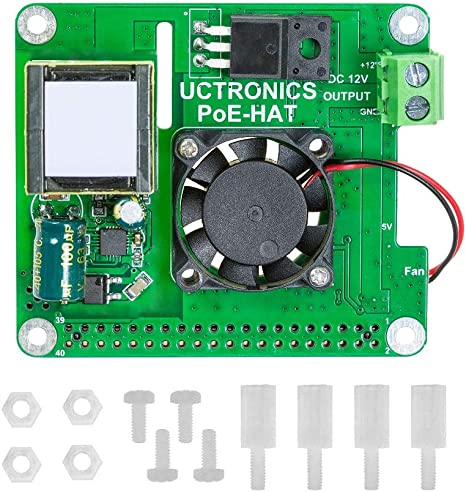 UCTRONICS PoE Sombrero para Raspberry Pi, 802.3at Power Over ...