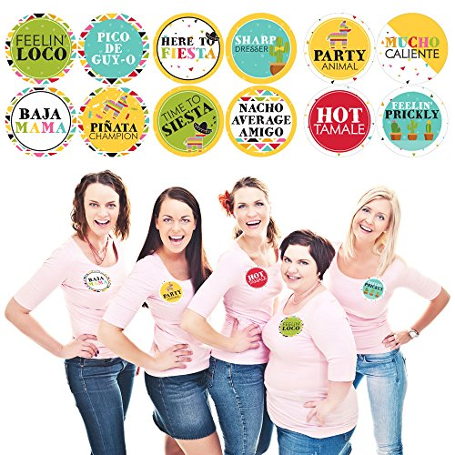 Big Dot of Happiness Let's Fiesta - Mexican Fiesta Name Tags - Party Badges Sticker Set of 12 by Big Dot of Happiness