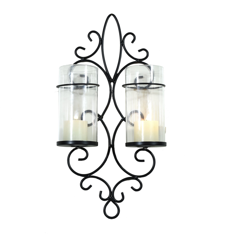 Homebeez Deorative Iron Vertical Candle Holder Sconce, Vine Style,Black