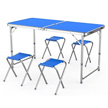 Portable Table Set 4 Chair Folding Kitchen Camping Dining Outdoor Garden Picnic