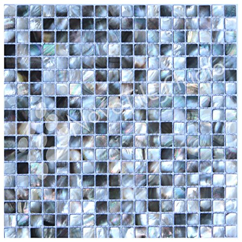 Box 10 Tiles Mother Of Pearl RIMINI-PE005 Deep Sea Black Pearl Square Pattern Mosaic Tile, 12