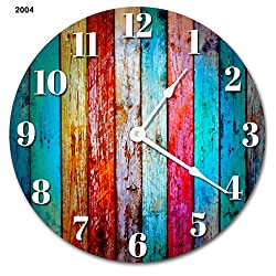 Sugar Vine Art Large 10.5 Wall Clock Decorative Round Wall Clock Home Decor Novelty Clock WORN COLORED WOOD BOARDS RUSTIC CLOCK